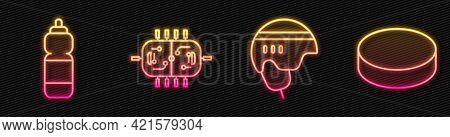 Set Line Hockey Helmet, Fitness Shaker, Hockey Table And Hockey Puck. Glowing Neon Icon. Vector