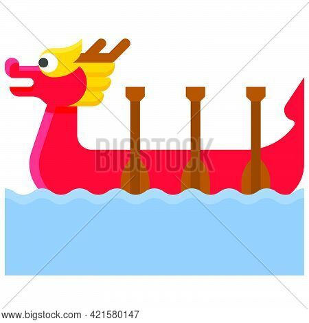 Dragon Boat With Paddle Icon, Dragon Boat Festival Related Vector Illustration