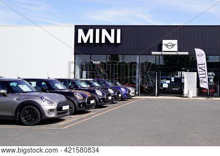 Bordeaux , Aquitaine France - 05 18 2021 : Mini Car Park Cooper Dealership Shop New Model Store With
