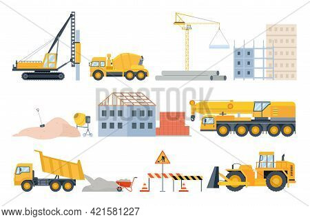 Construction Site Elements. Material Piles, Sand And Pipes, Brick Building And Machinery. Cement Mix