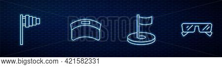 Set Line Golf Hole With Flag, , Sun Visor Cap And Glasses. Glowing Neon Icon On Brick Wall. Vector