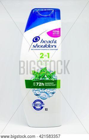 Pruszcz Gdanski, Poland - May 22, 2021: Head And Shoulders Menthol Fresh Anti-dandruff Shampoo And C