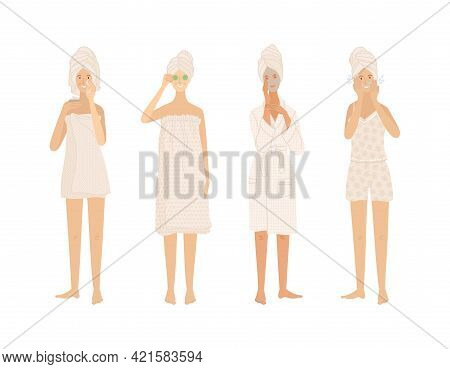 Beautiful Young Women Standing In Towels And Bathrobe Take Care Of Their Skin