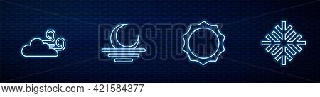 Set Line Sun, Windy Weather, Sunset And Snowflake. Glowing Neon Icon On Brick Wall. Vector