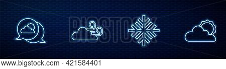Set Line Snowflake, Location Cloud, Windy Weather And Sun And. Glowing Neon Icon On Brick Wall. Vect