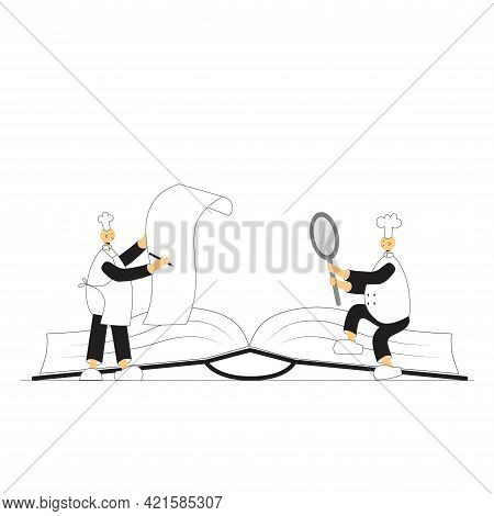 Cook Chef With Recipe Book, Hat, Uniform From Professional Kitchen Restaurant. Vector Stock Illustra