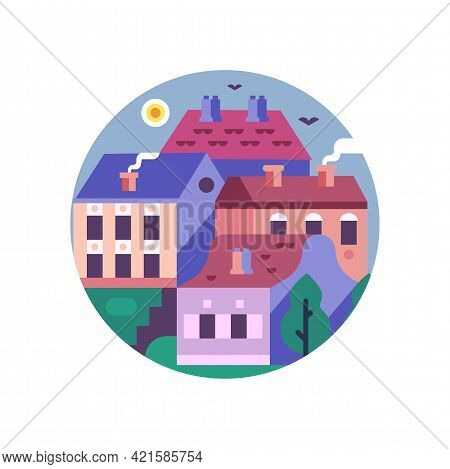Historical Village With Stone Houses Flat Icon
