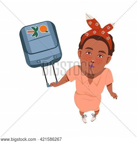 Smiling Freckled Woman With Headband And Suitcase Looking Up Watching At Something Above View Vector