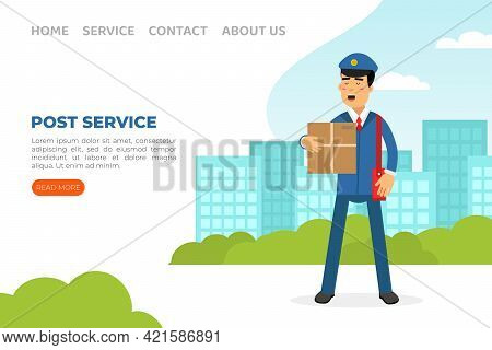 Landing Page With Mail Carrier Or Mailman As Employee Of Postal Service Delivering Mail And Parcels