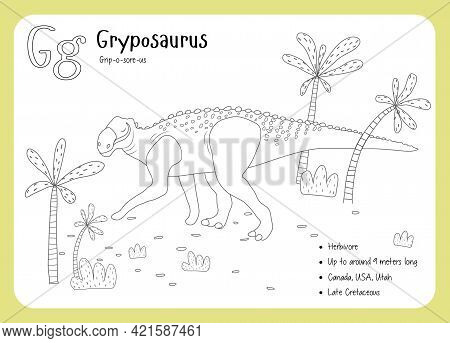 Coloring Cards With Dinosaurs And Alphabet. Dinosaur Fact Cards. Dinosaur Names Corresponding To The