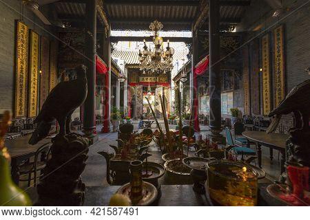 Penang, Malaysia - February 13,2019 : The Ancestral Hall Of Pinang Peranakan Mansion In Penang, Mala