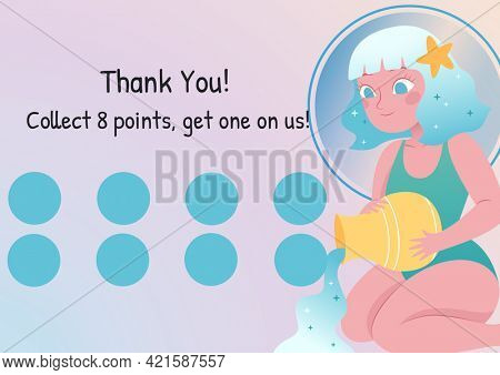 Composition of thank you collect 8 points get 1 on us text with eight dots for loyalty stamps. loyalty card and savings concept digitally generated image.