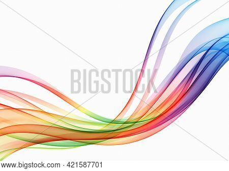 Vector Wave Flow Background Abstract Spectrum Curved Lines Background. Colorful Wave