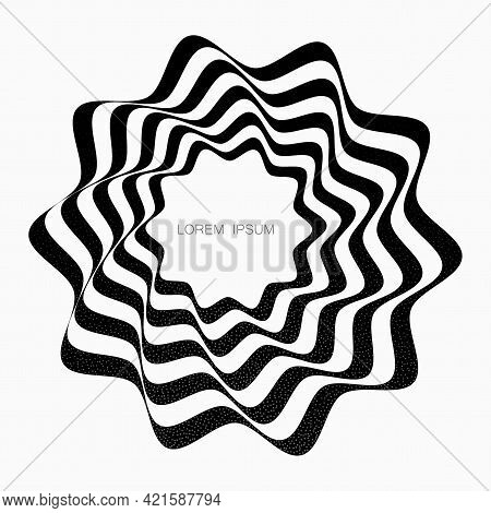 Black Curved Lines Forming A Circular, Abstract Organic Shape. Vector Element For Design.