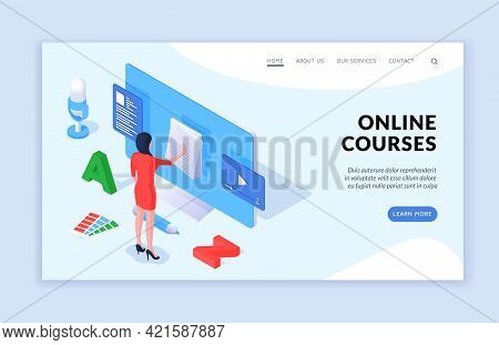 Online Courses Concept. Modern Vector Template Of Landing Page Banner Website With Isometric Female