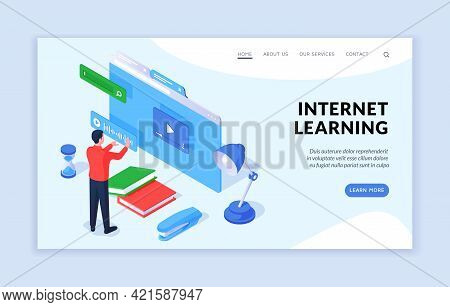 Internet Learning Concept. Isometric Vector Illustration Of Male Student Using Convenient Online App