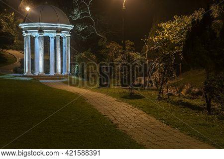 Night Scenery Of Classic Gazebo In Park