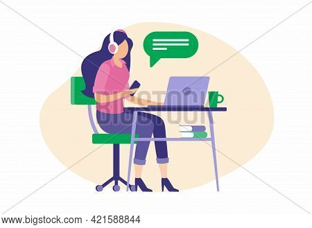 Beautiful Female Operator Consults Clients Online. Girl Sits In Headphones Laptop And Talks Subscrib