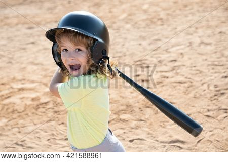 Excited Child Playing Baseball. Batter In Youth League Getting A Hit. Boy Kid Hitting A Baseball.