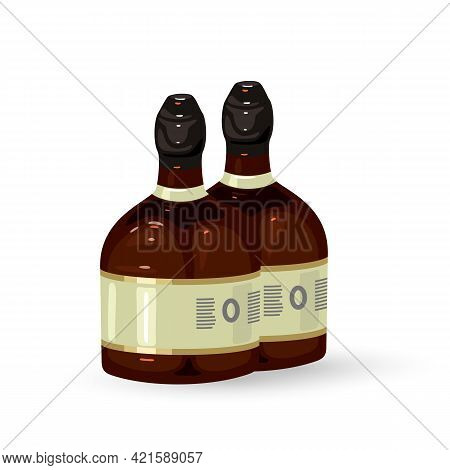 Cartoon Alcoholic Beverage, Home Manufacturing. Vector Strong Drink, Liquor, Store Delivery, Transpo