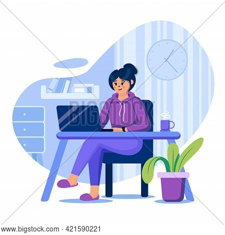 Freelance Concept. Woman Freelancer Working At Laptop In Home Office. Remote Worker At Convenient Co