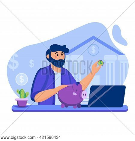 Online Banking Concept. Man Using Online Account For Financial Transactions. Piggy Bank, Savings And