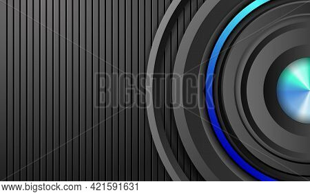Dark Relief Background With Multilayered Round Frame. 3d Layers And Neon Lighting.