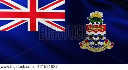 3d Illustration Of Large Flag Of Cayman Islands Fullscreen Background In The Wind With Wave Patterns