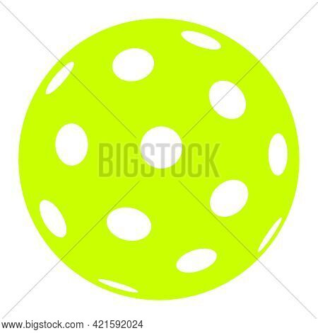 Pickleball Ball Isolated On White, Vector Simple Illustration, Ball With Holes