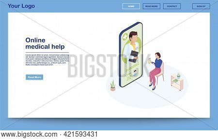 Online Medical Help Isometric Webpage Template. 3d Patient Explaining Symptoms Using Ehealth Mobile