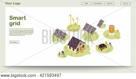 Eco Energy Webpage Vector Template With Isometric Illustration. Smart Grid. Solar, Wind Renewable Po