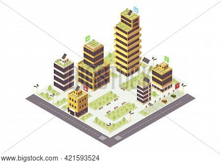Eco City Isometric Color Vector Illustration. Commercial Buildings. Smart Town Infographic. Renewabl