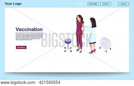 Vaccination Webpage Vector Template With Isometric Illustration. Physician Giving Injection To Patie