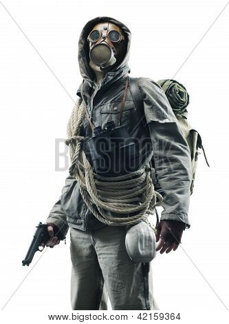 Post apocalyptic survivor in gas mask on white background poster