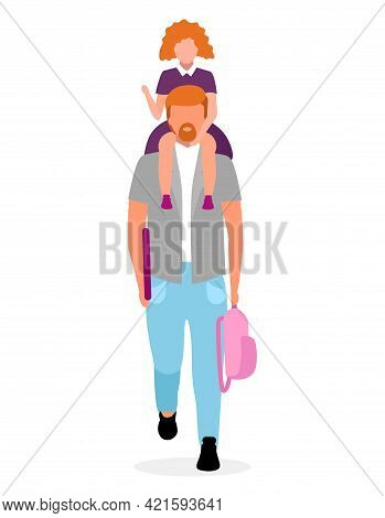 Daughter Sitting On Father Neck Flat Vector Illustration. Parent With Schoolgirl And Backpack Going