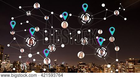 Composition of network of connections with location pins and photographs over cityscape at night. global connections, networking and business concept digitally generated image.