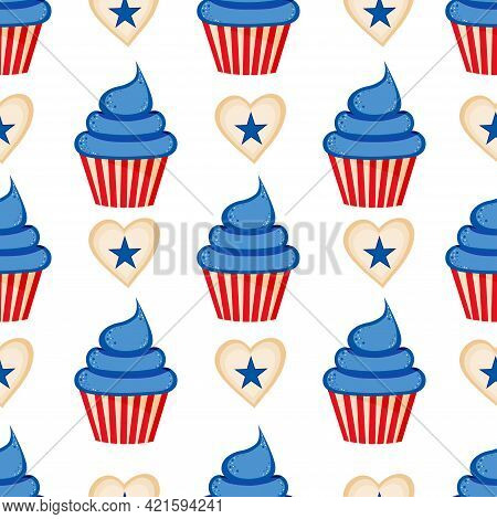 Vector Cupcake And Herts With Stars Seamless Pattern Of 4th Of July. Transparent Background
