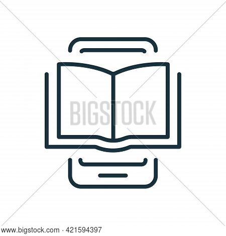 Ebook Line Icon On Mobile Phone. Electronic Book Device For Education And Learning. E-book Reader, E