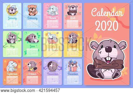 Cute Beaver And Elephant 2020 Calendar Design Template With Cartoon Kawaii Characters. Wall Poster,