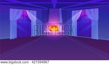 Empty Room With Fireplace Flat Vector Illustration. Retro Style Panoramic Windows With Lightweight C
