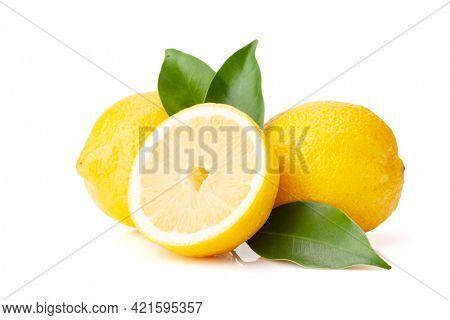 Fresh lemon citrus fruits. Isolated on white background