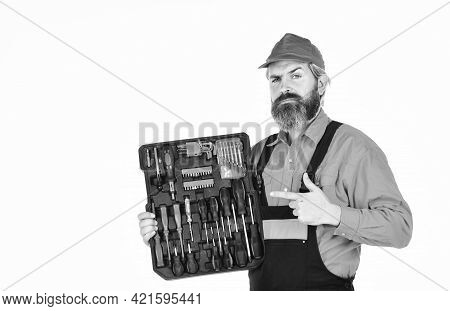 Custom Woodworkers. Set Of Tools. Screwdrivers Set. Man Carries Toolbox White Background. Worker Rep