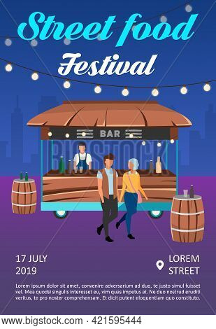 Street Food Festival Brochure Template. Cocktail Lounge Service Flyer, Booklet, Leaflet Concept With