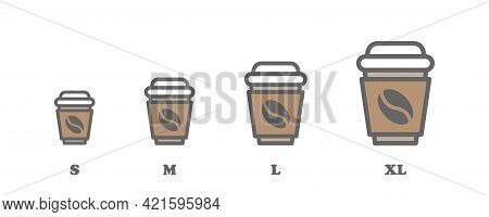 Coffee Cup Sizes Flat Icon Sat. Vector Isolated Cup Sizes. Small Medium Large Extra Large Cup Sizes.