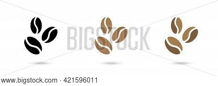 Coffee Beans Flat Vector Icon Collection. Coffee Seeds Set. Vector Set. Cafe Concpt.
