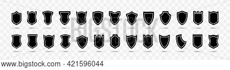 Shield Vector Collection On Transparent Background. Shield Black Flat Vector Icon Set. Protection Sa