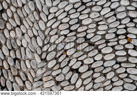 Beautiful View On White Small Pebbles Stones Paved In A Row On Road. Mosaic Pebbles.