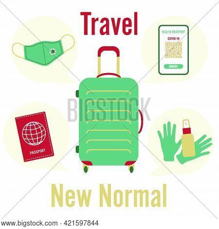 Vector Illustration 2021 Travel Suitcase Health Passport Mandatory Covid Test Medical Mask Disinfect
