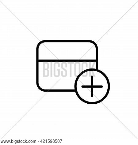 Add New Credit Bank Card Black Line Icon. On White Background. Trendy Flat Isolated Symbol, Sign For