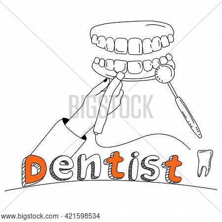 Dentist Hand Holding Drill Bit And Cures Teeth With Caries,removing Plaque.banner In Doodle Style Wi